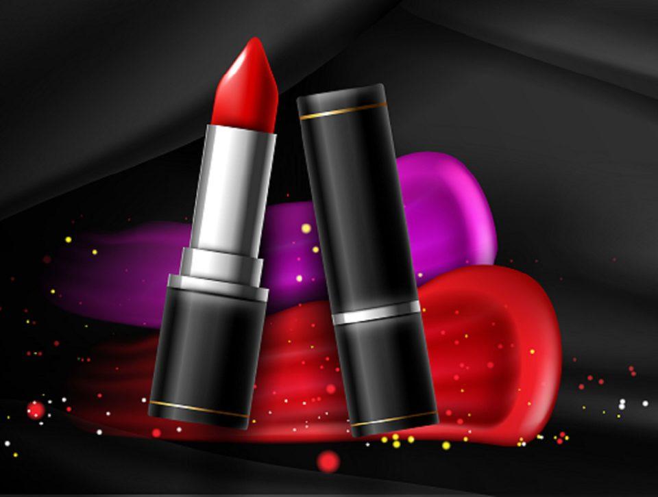 Lipstick cosmetics make up with confetti