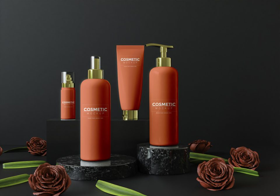 Cosmetic products assortment PSD Mockup